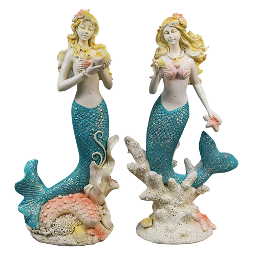 richards seashells   resin mermaid statue decor ea