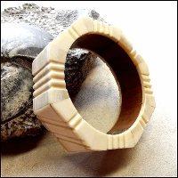 Carved Bone Bracelet Teak Wood Bangle 1960s Vintage Ethnic Jewelry