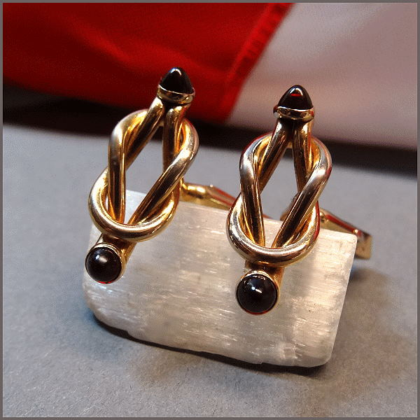 Swank vintage cufflinks gold nautical knots 1940s jewelry for What is swank jewelry