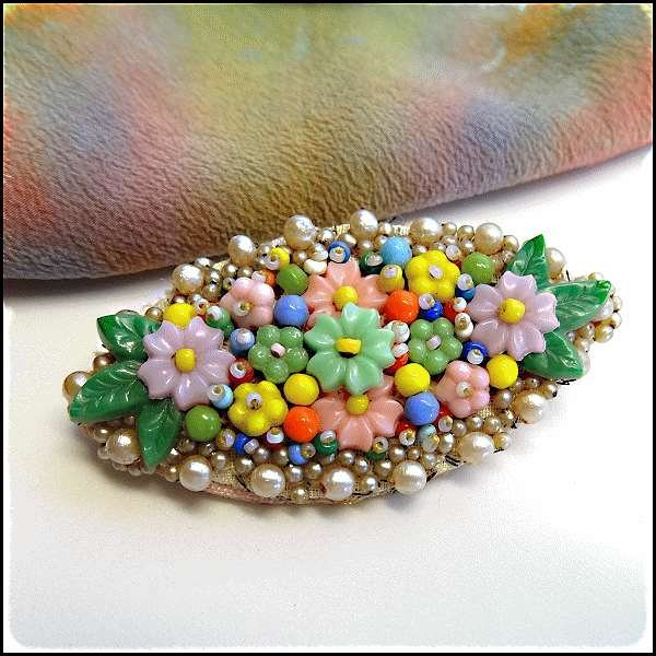 Vintage glass flower beads