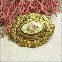Antique French Pin Gold Medallion Guilloche Brooch 1920s Jewelry