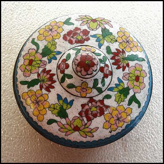 Antique Chinese Cloisonne Box Lidded Bowl
